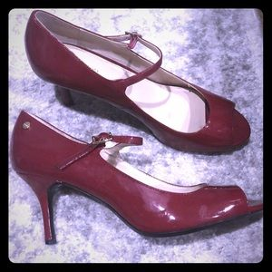 Calvin Klein Red patent peep toe Mary Janes!